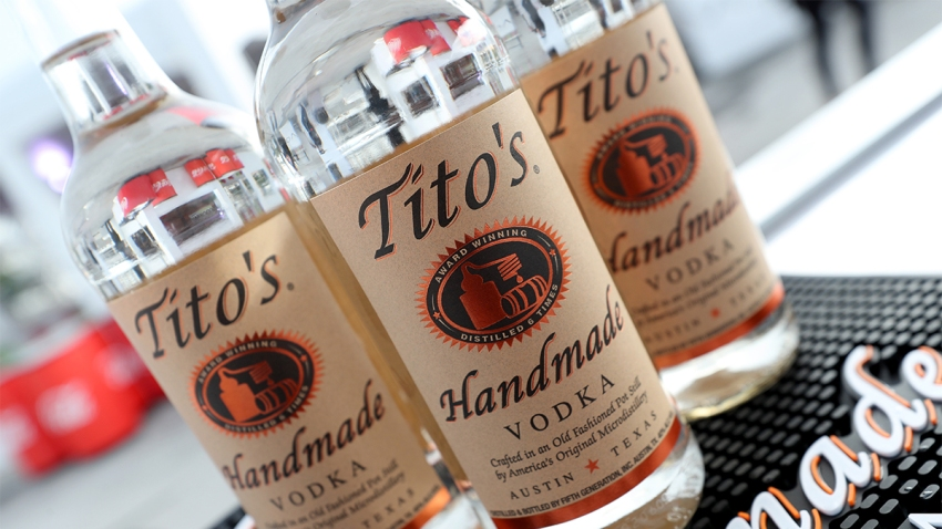 Tito's Vodka bottles on a table