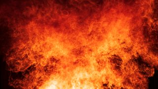 File Photo: Close-up of Blaze fire flame at night.