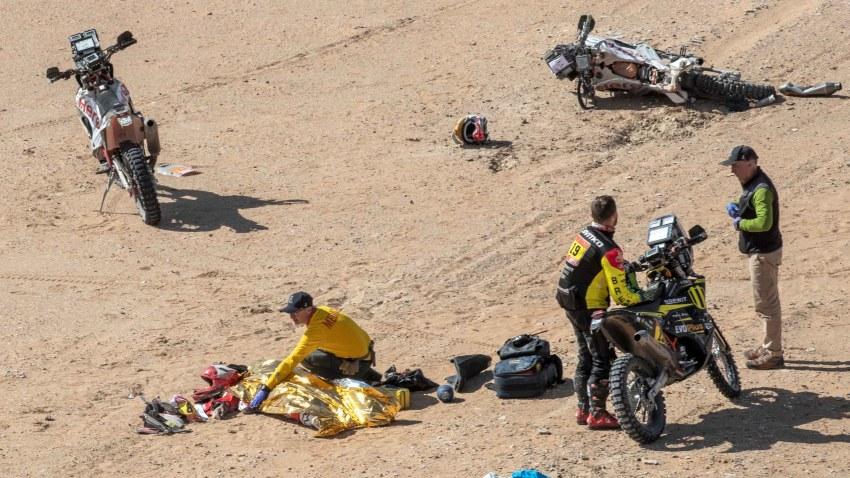 Lugar del accidente en el que falleció el portugués Paulo Gonçalves.