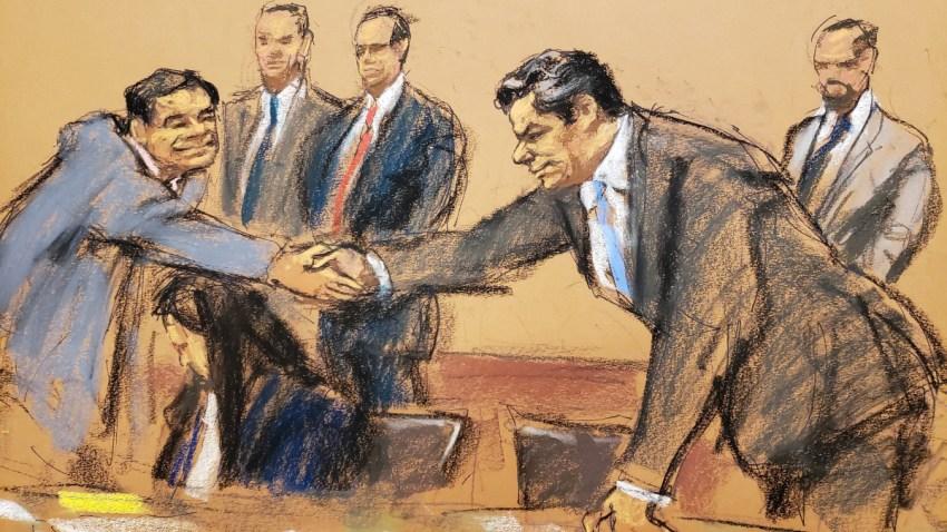 Imagen en dibujo del juicio contra El Chapo Guzmán