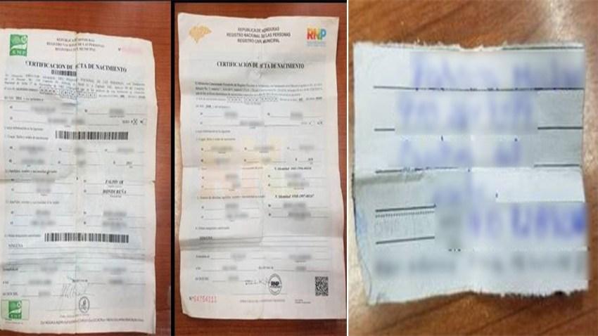Foto de dos certificados de nacimiento y una carta con informacion de contacto.