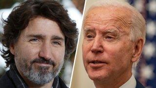 Combinación de fotografías del presidente Joe Biden y el primer ministro de Canadá, Justin Trudeau.