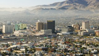 Panoramic view of skyline and downtown El Paso Texas looking toward Juarez, Mexico.